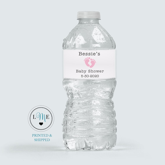 Pink Baby Foot Print Labels PRINTED Baby Shower Water Bottle Labels Baby Girl Water Bottle Sticker Labels Personalized