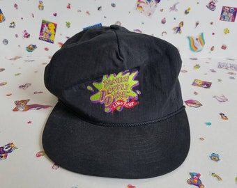 1990 s Hat Vintage Nickelodeon Double Dare Nostalgia Throwback Snapback 90 s  Game Show Slime Black Green Retro Accessories d0d0a507928