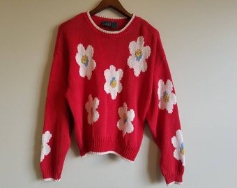 d1702adf0a Vintage Daisy Sweater 60s 90s Hippie Flower Power Red Yellow Blue Sweater  Primary Colors Retro Groovy Clothing