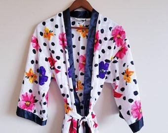 7bc29f4b94 90 s Vintage Victoria s Secret Robe Silk Kimono Tropical Flowers Polka Dots  Robe 1990 s High Quality Vintage Sexy Lingerie Kawaii Trendy
