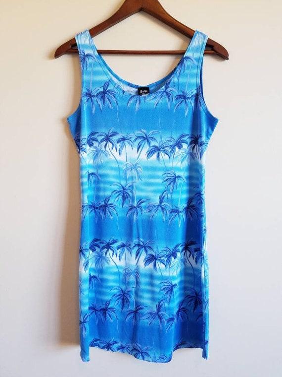 37 Bust Vintage 1970s Tropical Palm Tree Dress