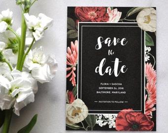 Printable Floral Save The Date - Dark Moody Floral, Printable Save the Dates, Boho Wedding, Rustic Chic, Bohemian, Etsy Weddings