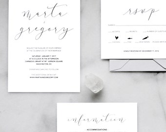 Printable Wedding Invitation Set — Minimalist Wedding Invitations, Modern, Calligraphy, Black and White, Elegant, Wedding Invitation Suite