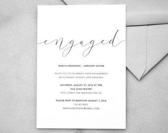 Printable Engagement Invitations - Minimalist Wedding Invitations, Simple Wedding Invitations, Black and White, Modern, Elegant, DIY Wedding