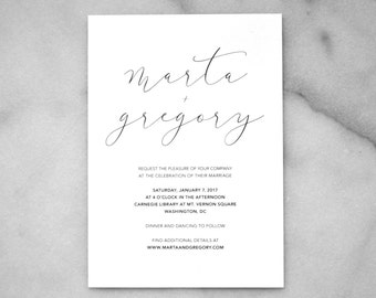 Printable Wedding Invitations — Minimalist Wedding Invitation, Simple Wedding Invitation, Black and White Party, Modern Wedding, Minimal