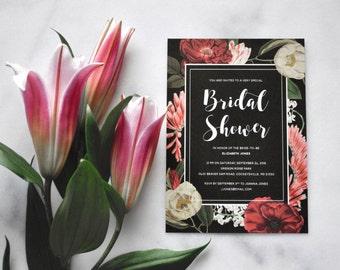 Printable Wedding Invitations - Bridal Shower Invitations, Botanical Wedding, Floral, Boho, Elegant, Burgundy, Blush, Romantic, Flowers