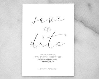 Printable Minimalist Save the Date — Modern Minimalist Wedding, Minimalist Invitations, Simple Black and White Invitations, Calligraphy