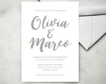 Printable Calligraphy Wedding Invitation — Modern Minimalist Calligraphy Invitation, Simple Calligraphy Invitation, Etsy Weddings,