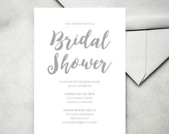 Printable Wedding Invitations — Bridal Shower Invitation, Minimalist Wedding Invitations, Simple, Black and White, Gray, Modern
