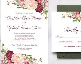 Printable Floral Wedding Invitations - Burgundy and Blush Floral Wedding Invitations, Boho Wedding, Garden Wedding, Rustic Wedding