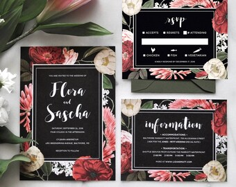 Printable Floral Wedding Invitation Set - Dark Moody Floral Invitations, Garden Wedding, Floral Wedding Invitations, Boho Wedding, Rustic