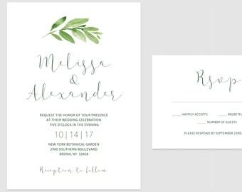 Printable Minimalist Greenery Wedding Invitations - Romantic Calligraphy, Greenery Invitations, Etsy Weddings, Green Leaves, Boho, Rustic