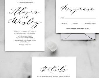Printable Wedding Invitations - Modern Calligraphy Wedding Invitations, Minimalist Invitations, Wedding Calligraphy, Etsy Weddings, DIY