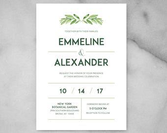 Printable Greenery Wedding Invitations - Minimalist Wedding Invitation, Green Leaf Wedding Invitation, Modern, Simple, Elegant, Boho