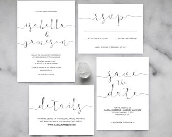 Printable Wedding Invitations - Minimalist Wedding Invitations, Simple Wedding Invitations, Modern, Calligraphy, Black and White, Elegant