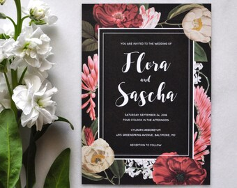 Printable Wedding Invitations - Floral Wedding Invitations, Botanical, Burgundy, Blush, Boho, Romantic, Elegant, Rustic, Garden Wedding