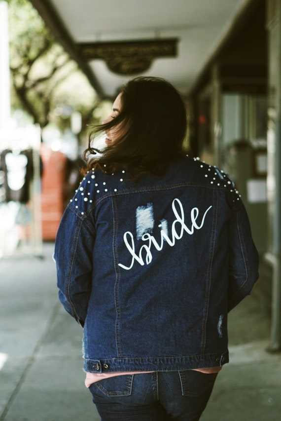Oversized Pearl Denim Custom Jacket | Mrs. Denim Jacket | bride denim jacket