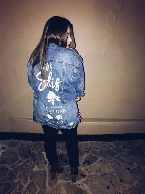 Oversized Denim Custom Jacket | Mrs. Denim Jacket | bride denim jacket