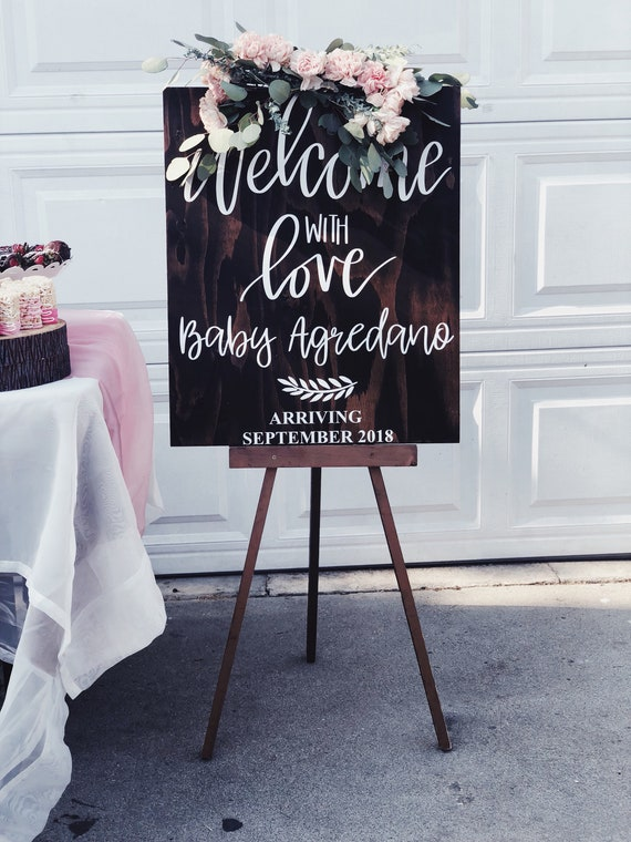 Baby Shower Welcome with love sign | welcome sign with baby | welcome sign baby shower