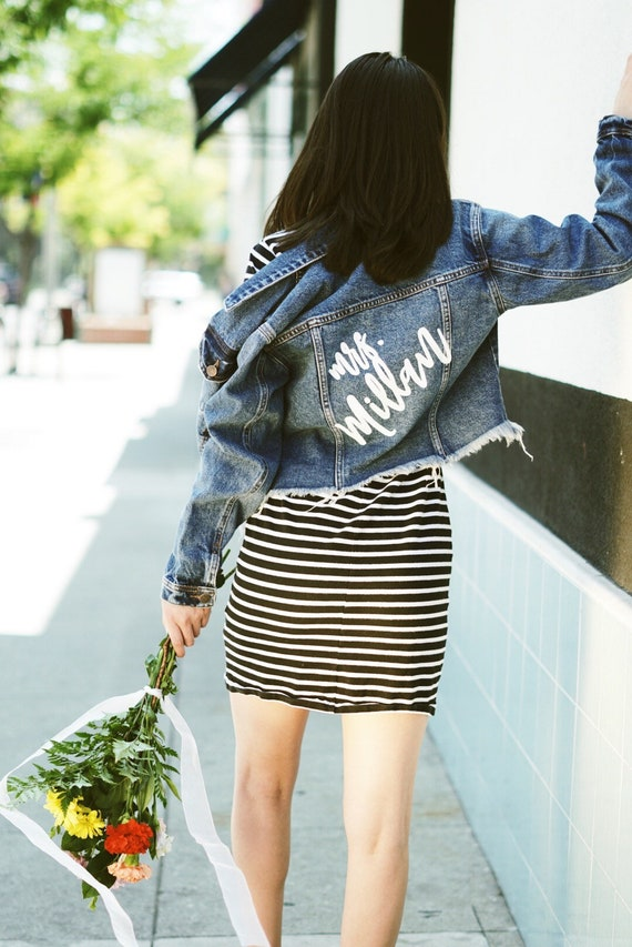 Crop Denim Jacket | Mrs. denim Jacket | Crop Custom Denim Jacket