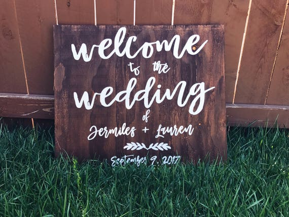 Welcome to the Wedding of Sign / Welcome to our Wedding / LittleBrownnSuitcase / Wedding Wood Decor