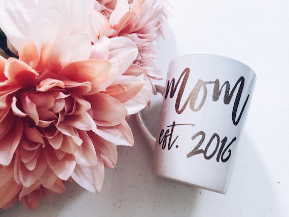 Mom Full Size Mug | Mom Est. Mug | LittleBrownnSuitcase