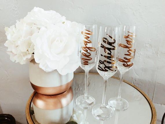 Custom Champagne Flute | Bride Champagne Flute | Bridesmaid Gift