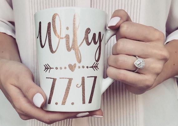 Wifey date mug / LittleBrownnSuitcase / mrs mug