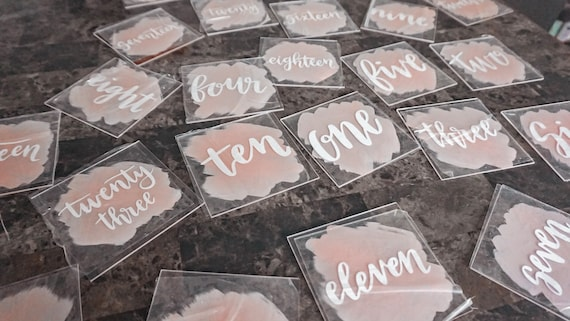 Acrylic table numbers with Painted Backsplash | wedding table numbers