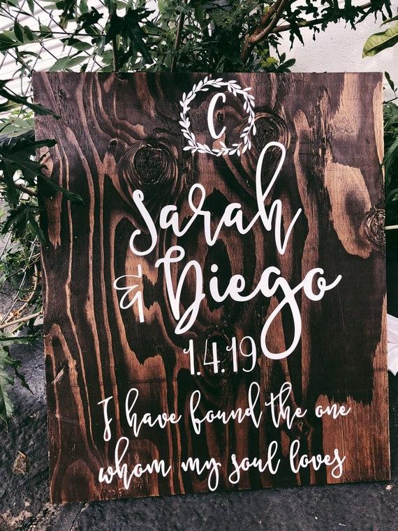 Vertical Wedding Sign / Monogram Wedding Sign | Wedding Gift / Wood Decor / Wedding Decor