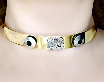 Steampunk BDSM submissive day collar choker burning man clothing necklace dominant fetish slave gift wedding anniversary birthday industrial