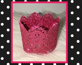 Pink lace glitter crown for baby adults dogs and dolls little girls toddler puppies