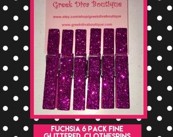 Fuschia fine glitter 6 pack wooden clothespins