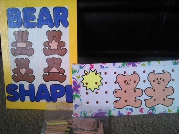 Double sided bear shape and pegboard set