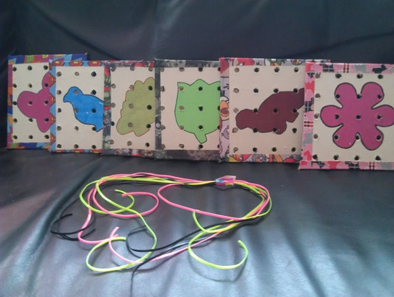 fine motor lacing cards. Helps children with their fine motor skills