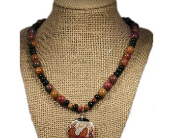 Brown and Black Pendant Necklace Silver | Brown and Black Stone Necklace Silver | Picasso Jasper Necklace Silver