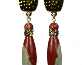 Red Clip-On Earrings | Red Stone Clip-On Earrings | White Lace Red Jasper Clip-On Earrings