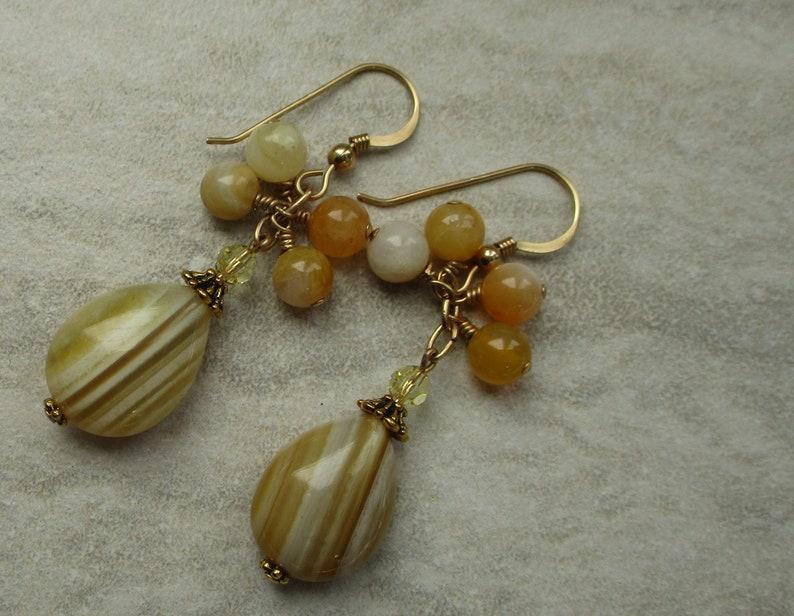 Botswana Agate Earrings Dangle Earrings Yellow Earrings