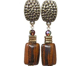 Brown Clip-On Earrings | Brown Stone Clip-on Earrings | Tire Iron Jasper Clip-On Earrings