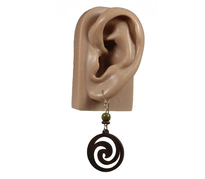 Natural Earrings Medium-Sized Wood Earrings Brown Earrings Laser-Cut Wood Earrings Wood Earrings