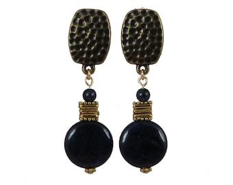 Blue Clip-On Earrings | Blue Stone Clip-On Earrings | Dumortierite Clip-On Earrings
