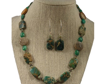 Teal Green Stone Necklace and Earrings Set | Aqua Terra Jasper Stone Necklace and Earrings