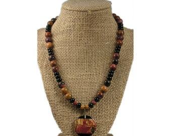 Brown and Black Pendant Necklace | Brown and Black Stone Necklace | Picasso Jasper Necklace