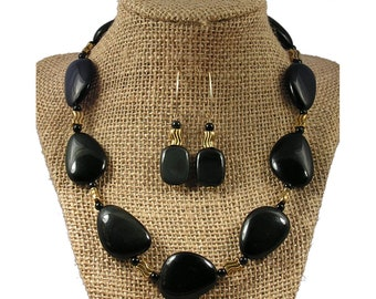 Black Stone Necklace and Earrings Set | Rainbow Obsidian Necklace and Earrings