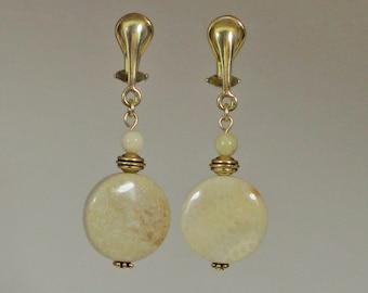 Light Beige Clip-On Earrings | Neutral Clip-On Earrings | Fossil Coral Stone Clip-On Earrings