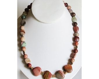 Pink, Brown and Green Stone Necklace | Imperial Jasper Stone Necklace
