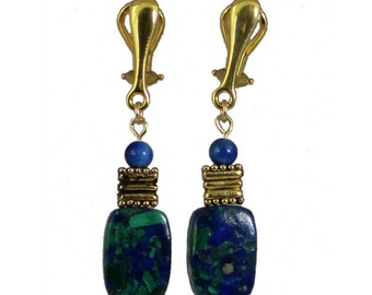 Blue and Green Clip-On Earrings | Azurite Malachite Clip-On Earrings | Blue Stone Clip-On Earrings