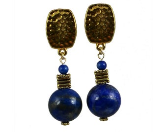 Royal Blue Clip-On Earrings | Royal Blue Stone Clip-On Earrings | Lapis Clip-On Earrings