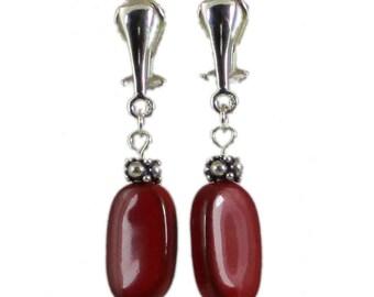 Red Clip-On Earrings Silver | Red Porcelain Clip-On Earrings