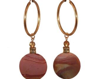 Pink and Brown Hoop Earrings | Pink and Brown Stone Hoop Earrings | Landscape Jasper Hoop Earrings